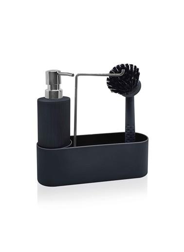 The Mia Sıvı Sabunluk ve Fırça Seti - Siyah Renkli